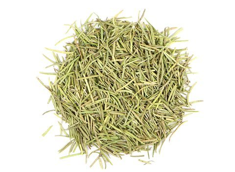 Small pile of loose leaf Rosemary herbs from Mountain Rose Herbs