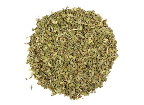 Small pile of loose leaf Spearmint Leaf herbs from Mountain Rose Herbs