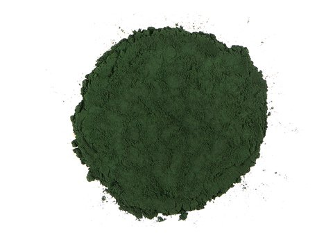 Small pile of loose leaf Spirulina from Mountain Rose Herbs