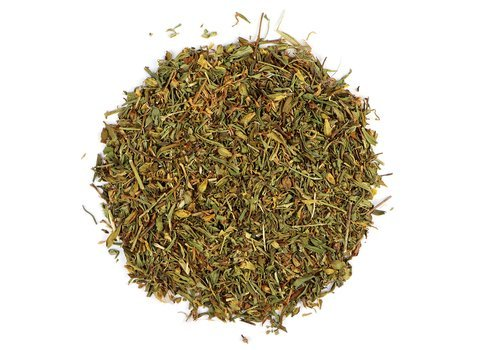 Small pile of loose leaf St John's Wort herbs from Mountain Rose Herbs