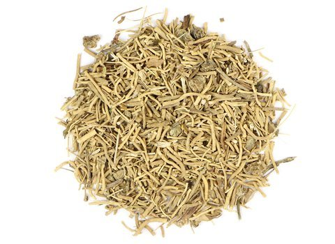 Small pile of loose leaf Valerian Root herbs from Mountain Rose Herbs